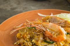 Asian noodles with shrimp and vegetables close-up (Pad Thai) Stock Photo