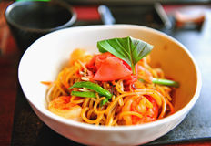 Asian noodles with shrimps Stock Photos