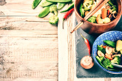 Asian noodles with stir-fried vegetables. Food background Stock Photo