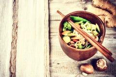 Asian noodles with stir-fried vegetables. Food background Stock Image