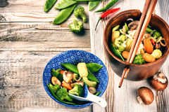 Asian noodles with stir-fried vegetables. Food background Royalty Free Stock Photo