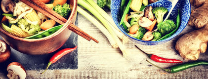 Asian noodles with stir-fried vegetables. Food background Royalty Free Stock Image