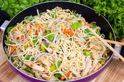 Asian Noodles Wok Stock Photography
