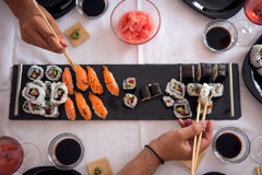 Asian, nourishing and healthy lunch. Served in the family Royalty Free Stock Photos