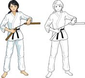 Asian Nunchuck girl in karategi. Young healthy Asian girl armed with nunchuck in karategi vector illustration colored and lineart Royalty Free Stock Photography