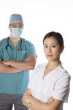 Asian nurse and doctor isolate Stock Image