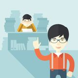 Asian office clerk has a lot of works. An asian office clerk has a lot of works to do with those papers infront of him, problem on how to meet the deadline of Royalty Free Stock Photography