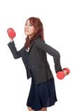 Asian office girl do funny pose weight lifting Royalty Free Stock Photo