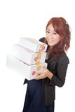 Asian office girl happy hold 3 boxes Stock Image