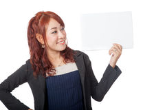Asian office girl happy look at a blank sign in her hand Stock Photos