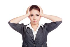 Asian office girl headache put both hand to head Royalty Free Stock Photography