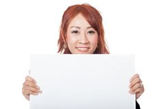 Asian office girl hold a blank sign with both hand and smile Royalty Free Stock Photography