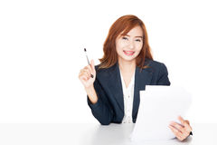 Asian office girl reading document and smile Stock Photography