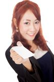 Asian office girl show blank card focus on the card Stock Photo