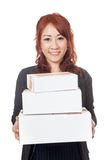 Asian office girl smile hold 3 boxes Stock Photo