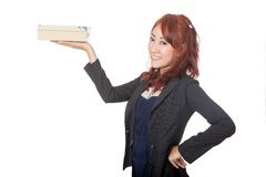 Asian office girl smile show a box on her hand Royalty Free Stock Images