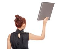 Asian office girl turn back and show a folder Royalty Free Stock Photos