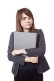 Asian office girl unhappy hold a folder in her arms Stock Images