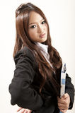 Asian office lady in black suit Folder in hand Stock Image