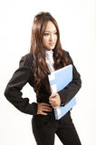 Asian office lady in black suit Folder in her hand Royalty Free Stock Photography