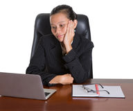 Asian Office Worker With Bored Expression Royalty Free Stock Photo