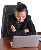 Asian Office Worker With Concentrating Expression II Royalty Free Stock Photo