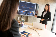 Asian Office worker in presentation Stock Images