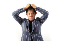 Asian officer portrait with emotion Stock Photo