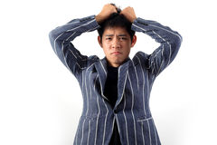 Asian officer portrait with emotion Royalty Free Stock Image