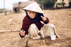Asian old farmer in Hue, Vietnam Royalty Free Stock Images