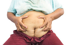 Asian old fat woman grasp her abdomen. ( surgical scar at lower abdomen ( post cesarean section ) ) ( isolated background Royalty Free Stock Image