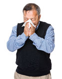 Asian old man sneeze Royalty Free Stock Images