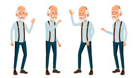 Asian Old Man Vector. Elderly People. Senior Person. Aged. Friendly Grandparent. Web, Poster, Booklet Design. Isolated stock illustration