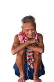 Asian old senior man candid portrait Royalty Free Stock Image