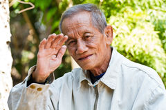 Asian old senior man candid portrait Stock Photos