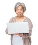 Asian old woman learn to use of laptop Stock Images