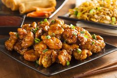 Asian Oranage Chicken with Green Onions Royalty Free Stock Photography