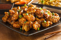 Asian Orange Chicken with Green Onions Royalty Free Stock Images