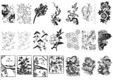 Asian ornament. Aisan floral ornaments, ancient looking ornaments Stock Image