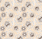 Asian ornament with flowers on beige background. Stock Photography