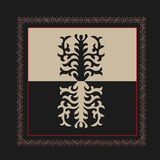 Asian ornaments collection. Historically ornamental of nomadic people. It based on real Kazakh art of felt and wool carpet. Mirror-symmetric illustrations Royalty Free Stock Photography