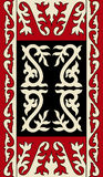 Asian ornaments collection. Historically ornamental of nomadic people. It based on real-Kazakh carpets of felt and wool. Mirror-symmetric illustrations. Region Stock Photography