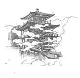 Asian pagoda sketch. Graphic sketch of asian pagoda vector illustration