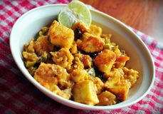 Asian Paneer curry. Asian cottage cheese with lemon garnishing Royalty Free Stock Photo