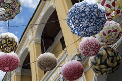 Asian paper lampion lights. In Hoi An, Vietnam royalty free stock image
