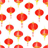 Asian paper lantern  seamless vector pattern Stock Image