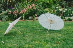 Asian Parasols in Garden Stock Photos