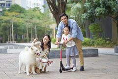 Asian parents & daughter playing scooter while walking dog in garden. Chinese parents & daughter playing scooter while walking dog in garden Royalty Free Stock Photos