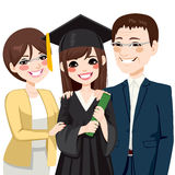 Asian Parents Proud Of Daughter. Asian parents standing proud and happy of daughter holding diploma on graduation day ceremony stock illustration