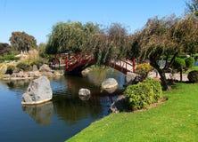 Asian park in la serena Chile lake garden green plants Royalty Free Stock Photos